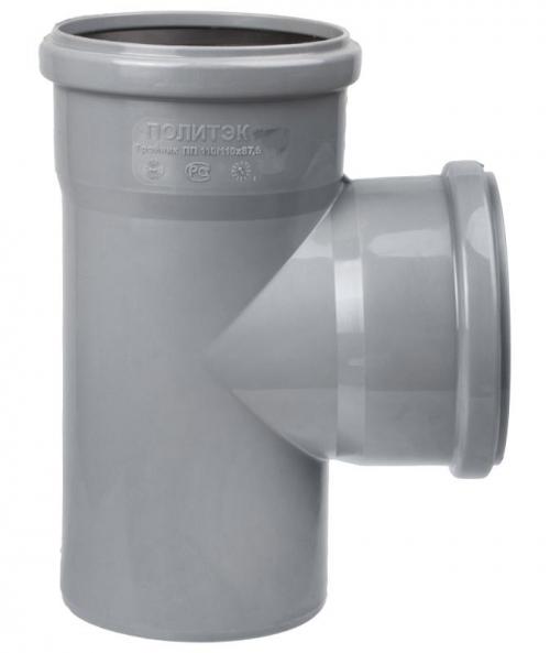 Тройник d 110 мм 90 градусов Серый внутренняя канализация