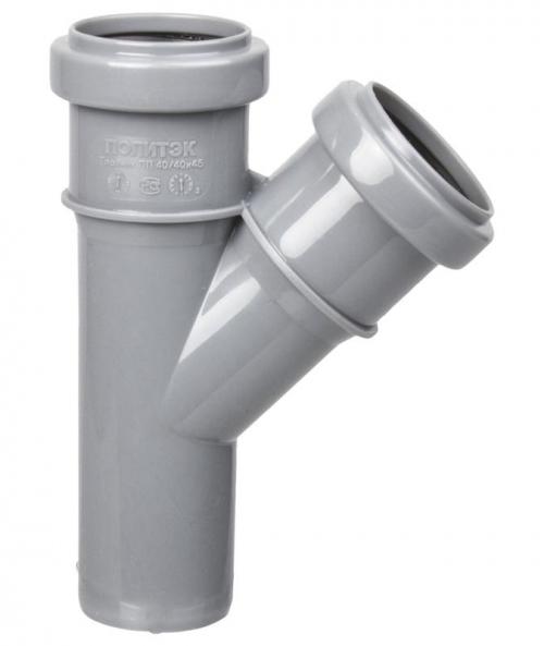 Тройник d 50 мм 45 градусов Серый внутренняя канализация