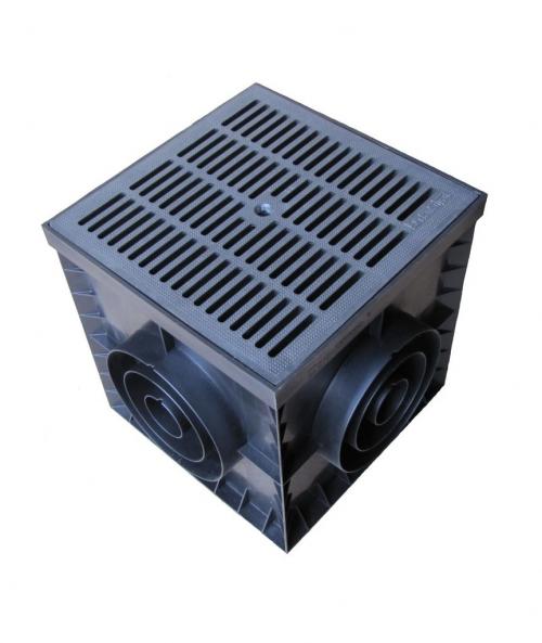 Комплект: Пластиковый дождеприемник PolyMax Basic 300x300 в сборе с пластивой решеткой