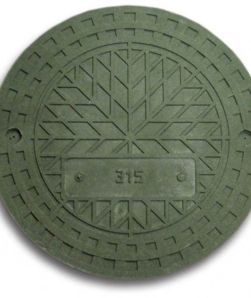 Люк дренажного колодца полимер-песчаный Насхорн 315 мм зеленый