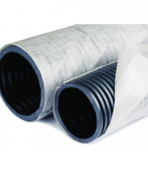 Дренажная труба однослойная гофрированная с геотканью перфорированная 160 мм х 50 м